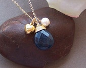 Blue Sapphire Necklace – Genuine Gemstone, Gold Filled, Wire Wrapped Stone, September Birthstone Necklace, Charm Necklace - A9