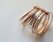 "14k Rose Gold Filled and silver rings, semainier. Stacking gold band ""Grape X.GF"""
