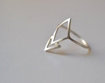Inverted Mountain - silver triangle , geometric ring