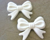 46mm Bow Beads Plastic White Bow Tie Big Bubblegum Chunky Acrylic Bead Bowknot 2pcs