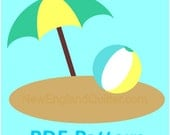 Applique Sewing PDF Pattern - Beach Ball and Umbrella - Quilt Block  - Iron on - Crafts - Sand Ocean Sea - Instant Download