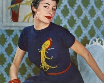 50s Exotic Bird Jumper - Vintage Fair Isle Knitting Pattern - Blouse / Sweater - Digital PDF E-Book