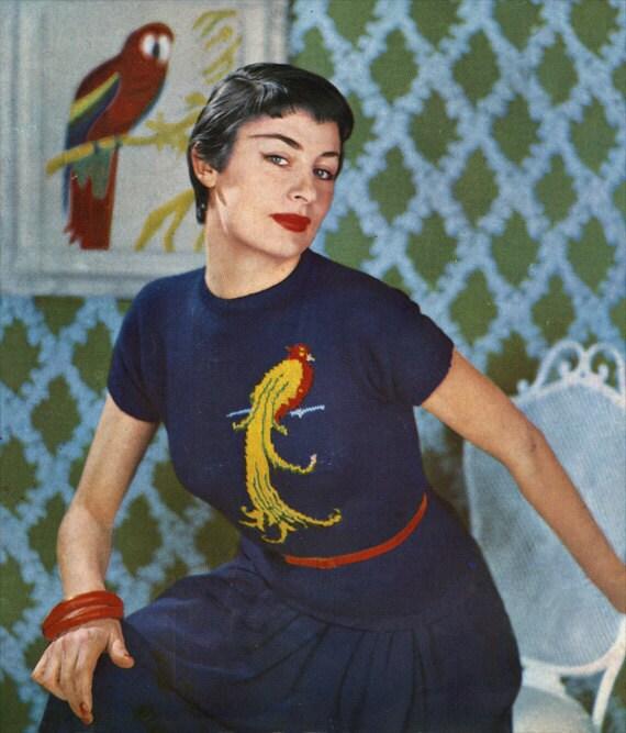 50s Exotic Bird Jumper Vintage Fair Isle Knitting Pattern