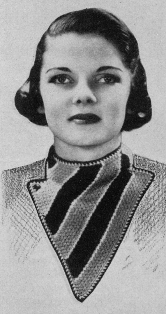 1930s Ladies' Scarf - Vintage Knitting Pattern - Digital PDF E-Book