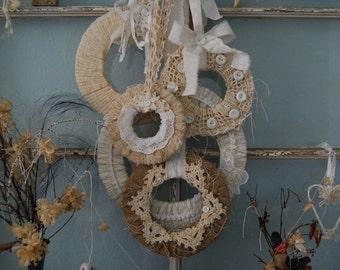 Wreath, Set of 5 Wreaths, Burlap and Lace Wreath, Fabric Wreath Set, Spring Wreath, Rustic Wedding Decor, Woodland Wreath, Farmhouse Decor