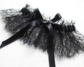 Noir black lace garter with silk and swarovski