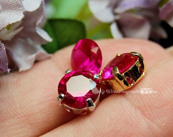 8.5mm Lab-Created Ruby Faceted Gemstone Your Choice Solid Sterling or Plated Sew On Setting Jewelry Supply