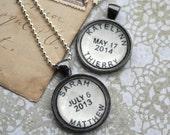 Custom Name Necklace - Custom Postmark Personalized Necklace - Custom Names Custom Date Location for Wedding Date Anniversary Birth Date