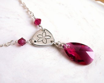 Crystal Drop Necklace Ruby Red Sparkling Crystal Pendant Simple Elegant Plumeria Flower Link Handmade Recycled .999 Fine Silver