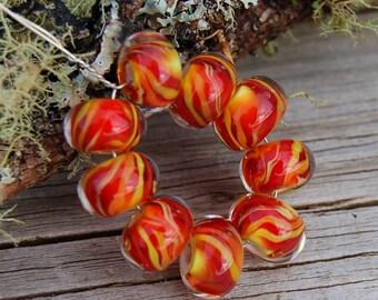 Heat - Set of 9 Encased Lampwork Beads - Dan O Beads