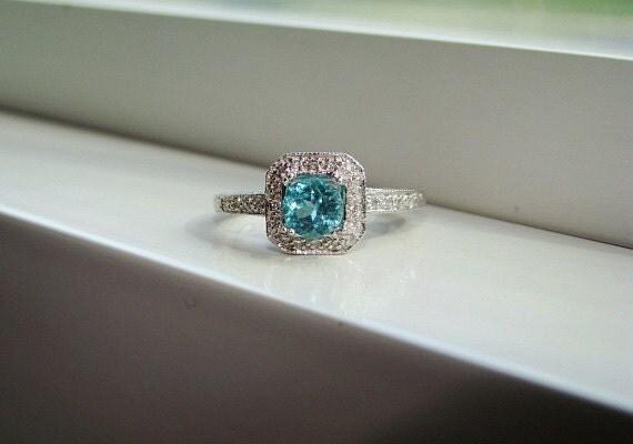 Antique Halo Teal Apatite Diamond Ring Gemstone Engagement