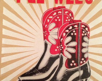 Cowboy boot poster pee wee cowgirl print hand printed letterpress