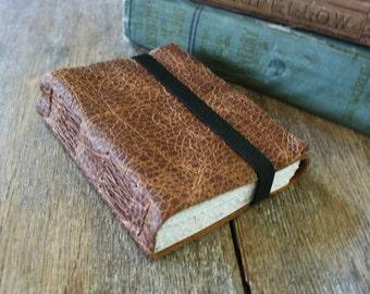 Leather Journal / Sketchbook - blank - distressed brown . Handmade Handbound (320 pgs)