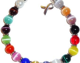 18 Colors Packaged Cancer Awareness Bracelet- 8mm