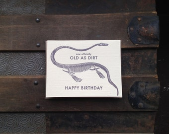 old as dirt birthday letterpress card