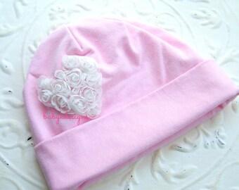 Sweet Pink n White Shabby Chic Rosettes Heart Newborn Beanie / Baby Beanies / Baby Chiffon Heart Cotton Beanie / Hospital Hat More Colors