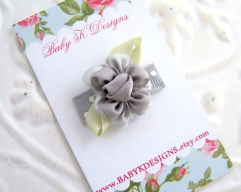 Baby Bow/ Baby Snap Clips / Itty Bitty Clips / Infant Clips / Toddler Girls Bows / No Slip Hair Clip / Grey/Silver Satin Flower Clip U PICK