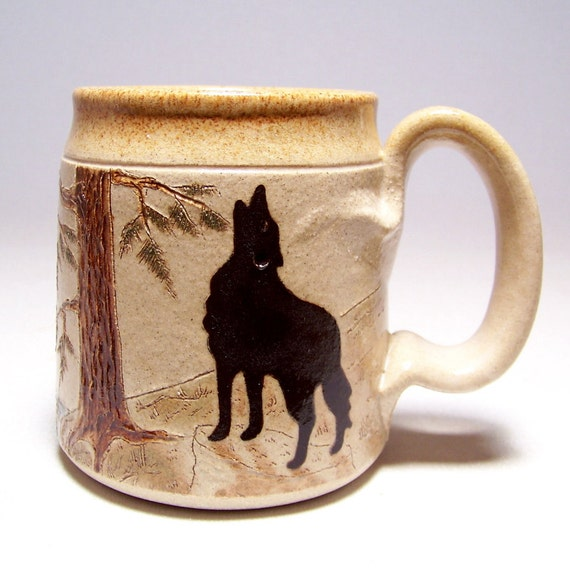 Wolf and Moon Pottery Coffee Mug Limited Series 121 (microwave safe) 12oz