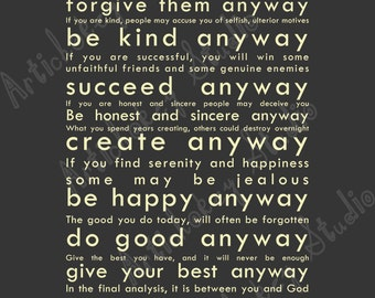 Do It Anyway - Instant Download Print for Canvas & Paper - Soft Black Background with Antique White Lettering
