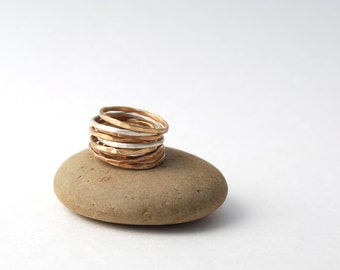 set of 2 hammered  skinny band rings