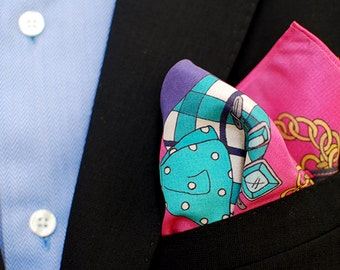 Pink Dandy Men's Silk Pocket Square Handkerchief Hot Pink