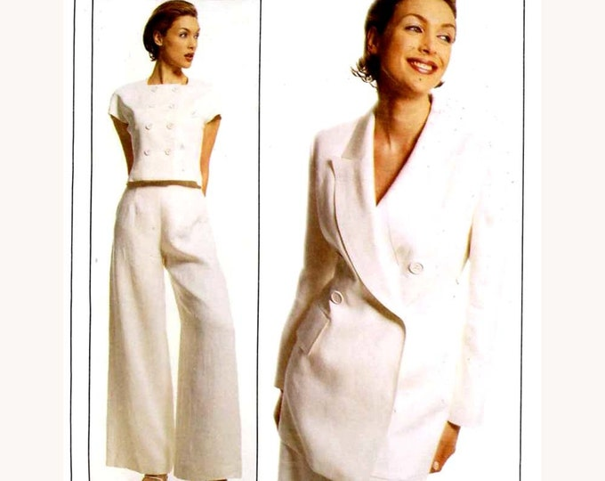 Lida Baday pants top and jacket all lined 90s designer sewing pattern McCalls 8256  Size 6 small Uncut