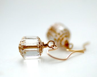 Clear Glass Earrings, Gold Earrings, Small Dangle Earrings, Glass Jewelry, Gold Fill Earrings, Christmas Earrings, Holiday Jewelry