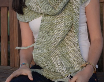 10%  coupon code FATHERSDAY- On SALE!! Handwoven shawl - cotton & silk in light green