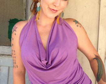 Cowl Neck Halter in Violet colored Hemp/Spandex fabric other colors availble
