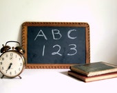 Antique Slate Chalkboard, Vintage Wooden Frame Blackboard with Felt Edge, Crown Brand, Back to School - CalloohCallay