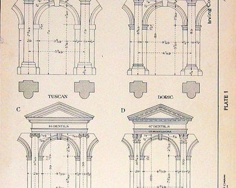 Architectural Drawings - Arches Without Pedestals - 1906 Vintage Book Plate - American Vignola