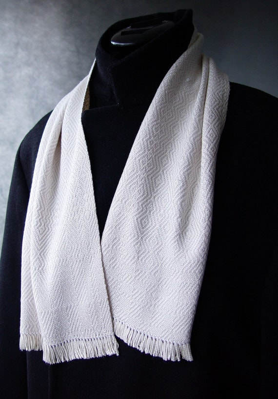 handwoven white on white silk mens opera scarf woven in a