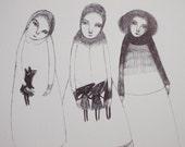 RESERVED  Black Hares - Original drawing