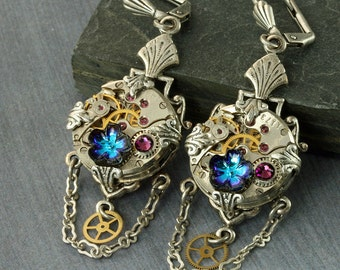 Steampunk Earrings Steampunk Jewelry Steampunk Jewellery Steam punk Jewelry Steam punk Earrings Silver Steampunk Earrings Watch Earrings