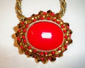 Red & Gold Pendant Necklace Upcycled from Vintage Jewelry Beaded with Austrian Crystals on a Silver and Gold Trifari Chain