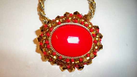 Red & Gold Pendant Necklace on Trifari Chain Upcycled from Vintage Jewelry Beaded with Austrian Crystals on a Silver and Gold Trifari Chain