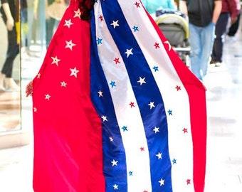 "Wonder Woman Super Hero Cape Red White Blue Satin with Stars Full length 50"""