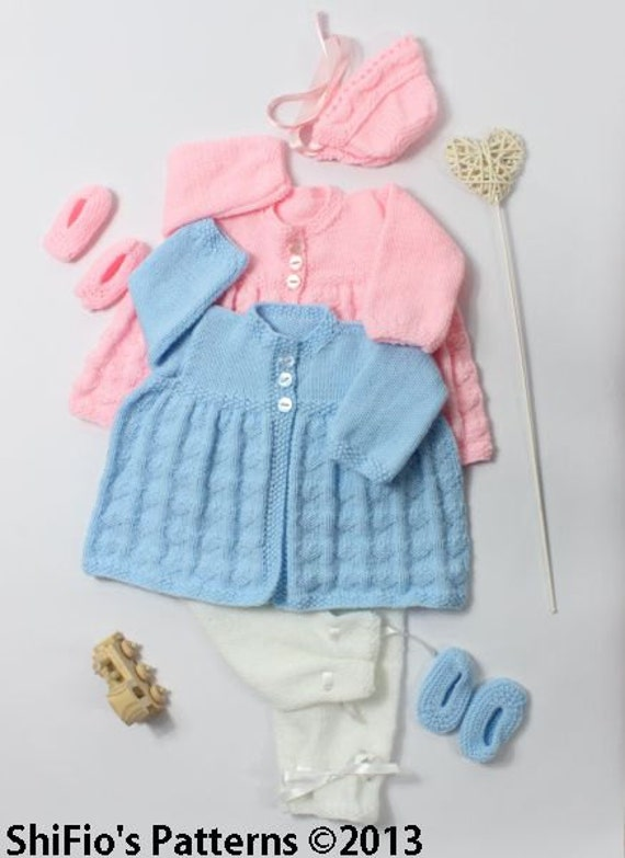 KNITTING PATTERN For Lovehearts Jacket, Trousers/Pants,Bonnet & Shoes PDF 29 Digital Download
