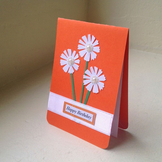 "White Flowers and Orange Happy Birthday Greeting Card - 3.5"" x 5"" - One of a Kind"