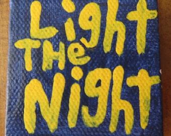 Tiny Light The Night Original Word Art Painting Heart Canvas Quote - Nayarts