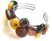Brown and Yellow Upcycled Vintage Button Bangle Bracelet