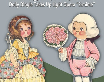 Printable Vintage Paper Doll Dolly Dingle Takes Up Light Opera Erminie Instant Download