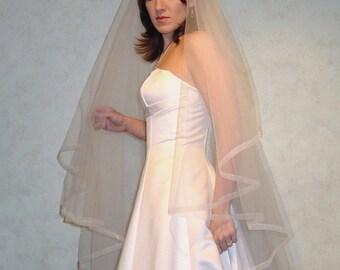 Organza Ribbon Edge Wedding Veil Ivory  and others  v-171
