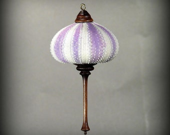 Ornament- Purple Sea Urchin & Dyed Gingko Wood (OR53)