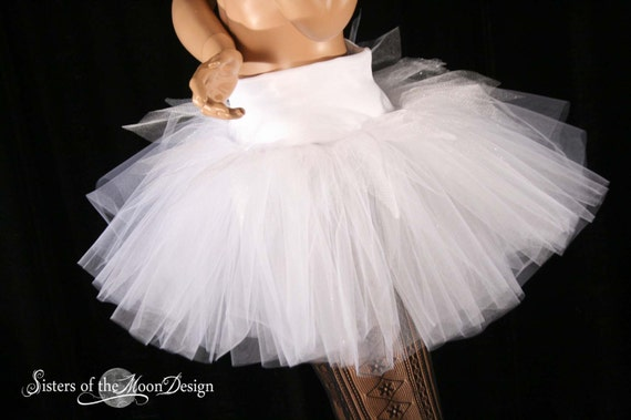 Winter FAiry adult tutu skirt White sparkle extra poofy dance bridal party costume run club gogo -- You Choose Size -- Sisters of the Moon