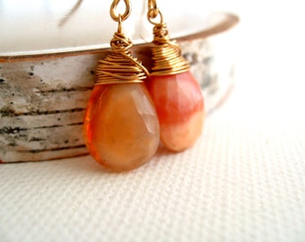 Mexican Fire Opal Earrings October Birthstone Orange Opal Gemstone Holiday Gift for her Under 60 Vitrine