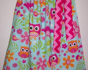 Pillowcase Dress with Owls Chevron Dress with Flowers Summer Dresses Girls Dresses Forest Animals Party baby dress toddler dress Owl Dresses