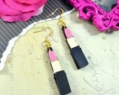 LIP SERVICE - Laser Cut Acrylic Etched Lipstick Charm Earrings in Gold and Pink