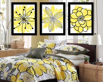 Yellow Black Wall Art Bedroom Wall Art Canvas Bathroom Wall Art