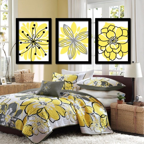 Yellow And Gray Bedroom Wall Decor : Yellow black wall art bedroom pictures canvas or prints